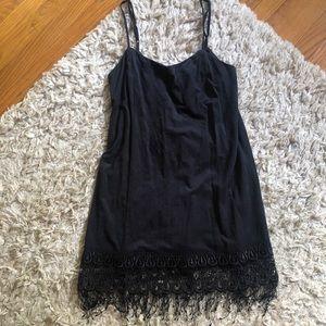 Blue Life Suede Black Fringe Dress
